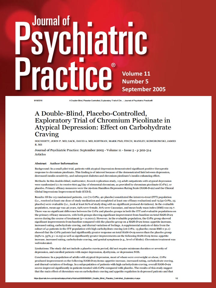 A double blind placebo controlled exploratory trial of chromium picolinate in atypical depression effect on carbohydrate craving micronutrients research