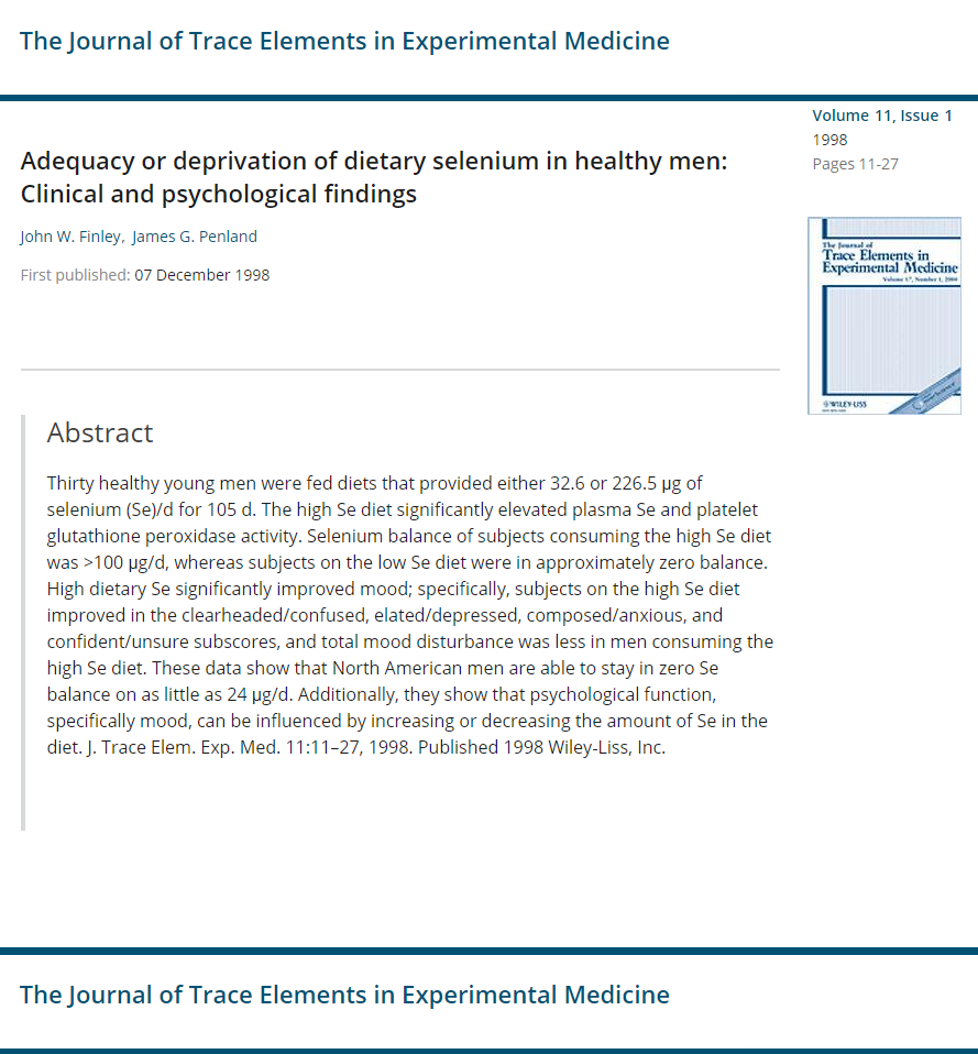 Adequacy or deprivation of dietary selenium in healthy men clinical and psychological findings J Trace Elem Exp Med Micronutrients Research