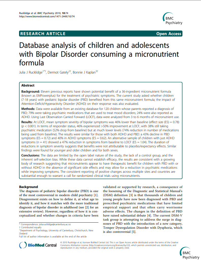 Database analysis of adults with bipolar disorder consuming a micronutrient formula BMC Psychiatry Micronutrients Research