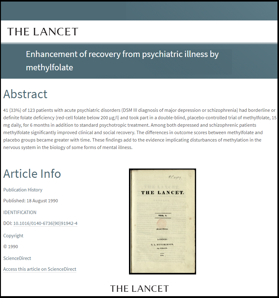 Enhancement of recovery from psychiatric illness by methylfolate Micronutrients Research