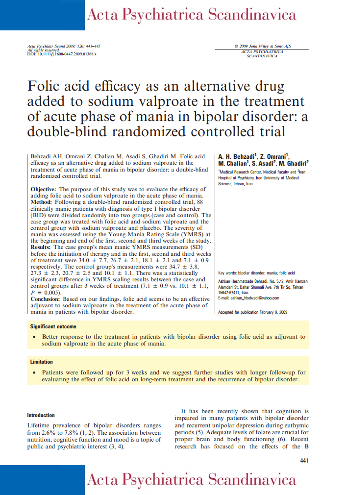 Folic acid efficacy as an alternative drug added to sodium valproate in the treatment of acute phase of mania in bipolar disorder