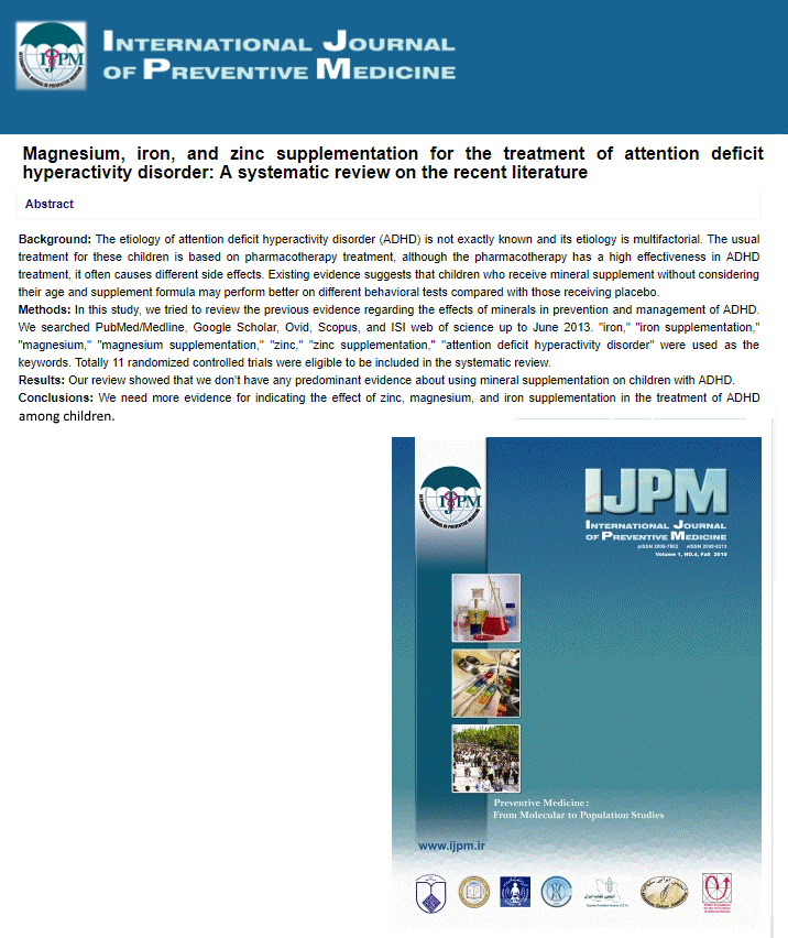 Magnesium iron and zinc supplementation for the treatment of attention deficit hyperactivity disorder a systematic review on the literature Micronutrients Research