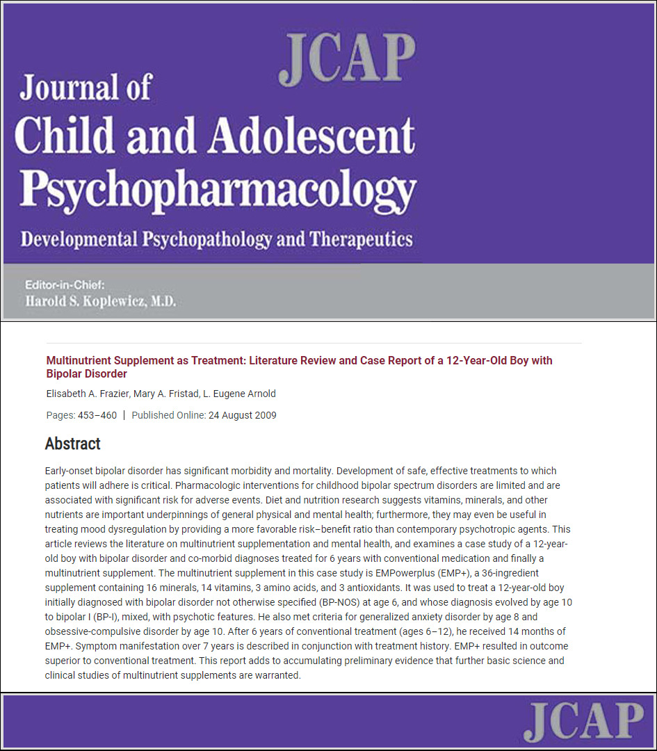 Multinutrient supplement as treatment literature review and case report of a 12 year old boy with bipolar disorder Micronutrients Research