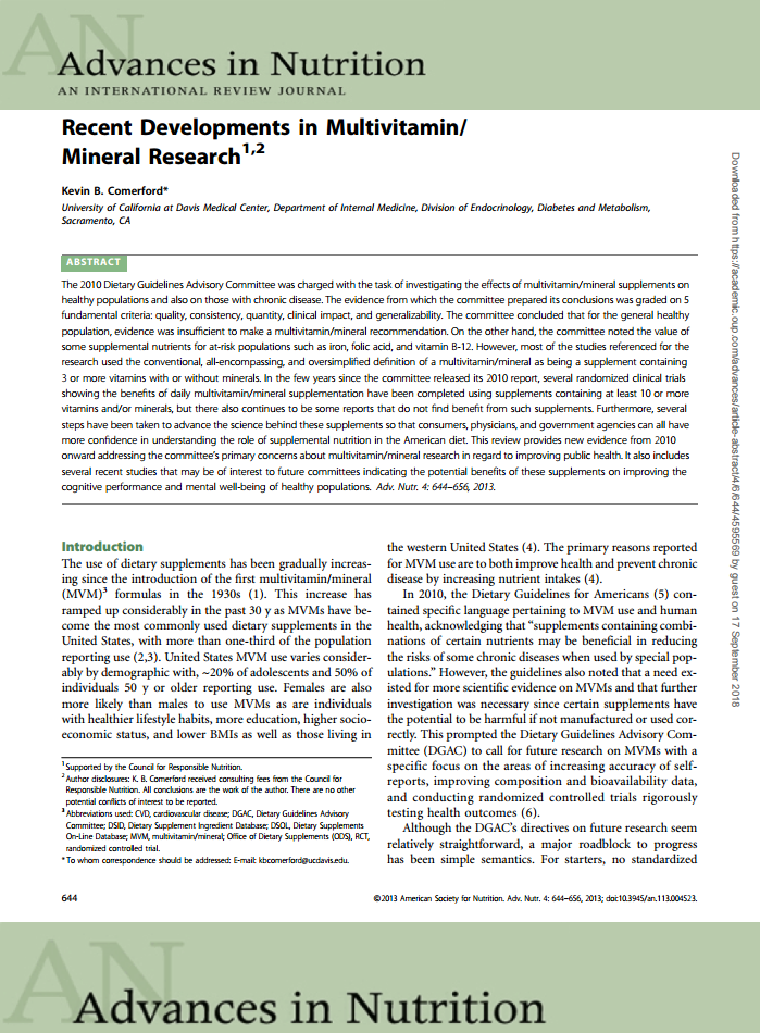 Recent developments in multivitamin mineral research Adv Nutr front page