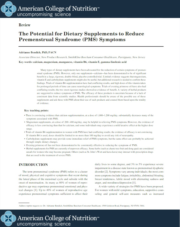The potential for dietary supplements to reduce premenstrual syndrome (PMS) symptoms