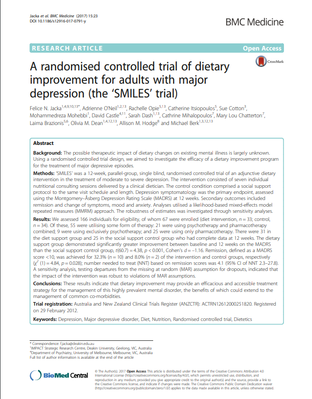 A randomised controlled trial of dietary improvement for adults with major depression the SMILES trial Micronutrients Research
