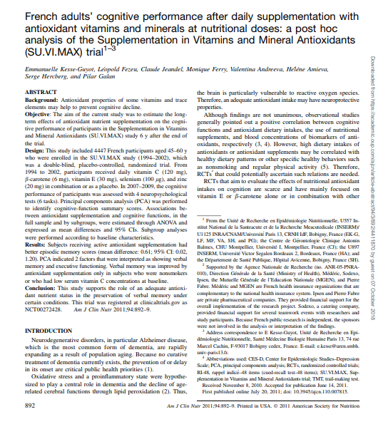 French adults cognitive performance after daily supplementation with antioxidant vitamins and minerals at nutritional doses a post hoc analysis Micronutrients Research