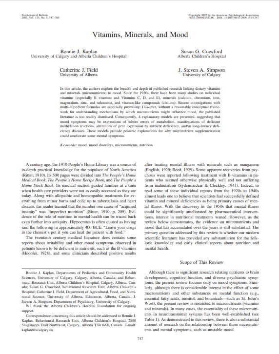 Vitamins Minerals and mood micronutrients research Micronutrients Research