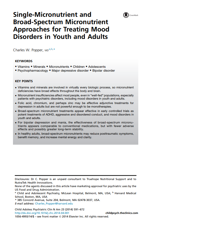 Single micronutrient and broad spectrum micronutrient approaches for treating mood disorders in youth and adults