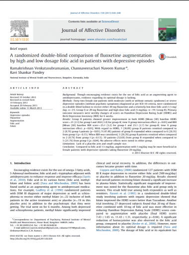 A randomized double blind comparison of fluoxetine augmentation by high and low dosage folic acid in patients with depressive episodes Micronutrients Research