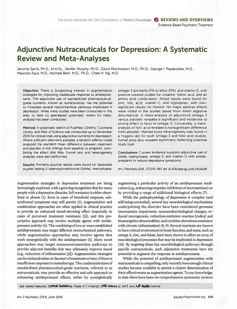 Adjunctive nutraceuticals for depression a systematic review and meta analyses Am J Psychiatry Micronutrients Research