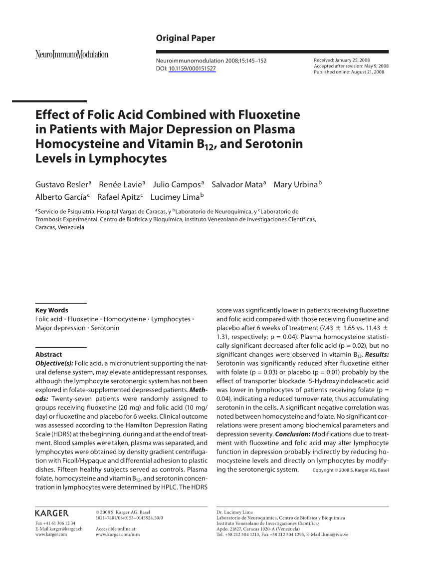 Effect of folic acid combined with fluoxetine in patients with major depression on plasma homocysteine and vi[4461]