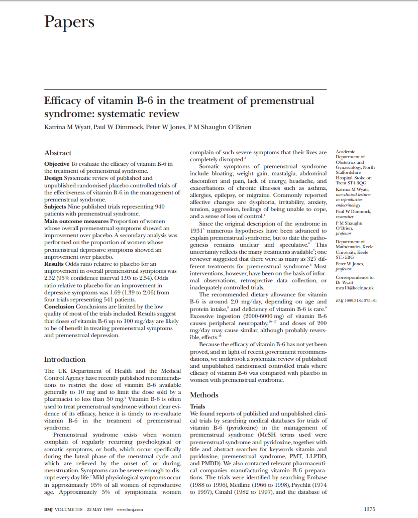 Efficacy of vitamin B-6 in the treatment of premenstrual syndrome systematic review Micronutrients Research