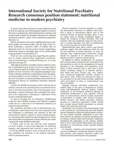 International Society for Nutritional Psychiatry Research consensus position statement nutritional medicine in modern psychiatry Micronutrients Research