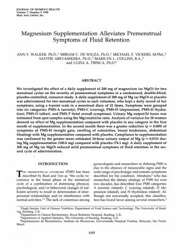 Magnesium supplementation alleviates premenstrual symptoms of fluid retention J Womens Health