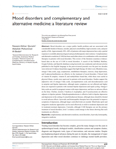 Mood disorders and complementary and alternative medicine a literature review Neuropsychiatr Dis Treat Micron[4475]