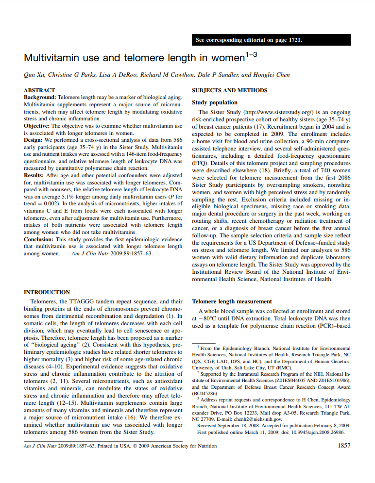 Multivitamin use and telomere length in women Am J Clin Nutr Micronutrients Research