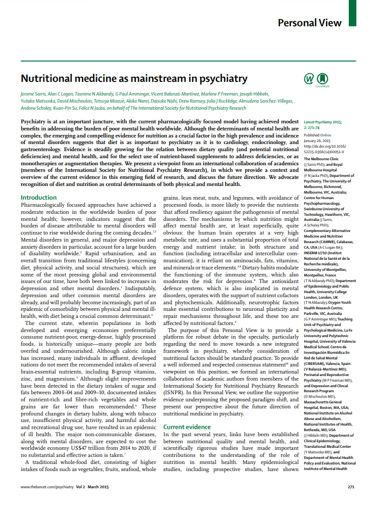Nutritional medicine as mainstream in psychiatry Lancet Psychiatry Micronutrients Research