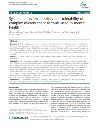 Systematic review of safety and tolerability of a complex micronutrient formula used in mental health BMC Psychiatry
