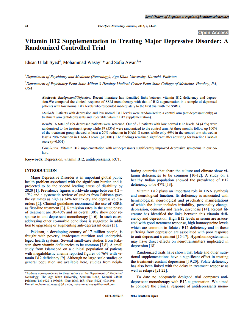 Vitamin B12 supplementation in treating major depressive disorder a randomized controlled trial Open Neurol J Micronutrients Research